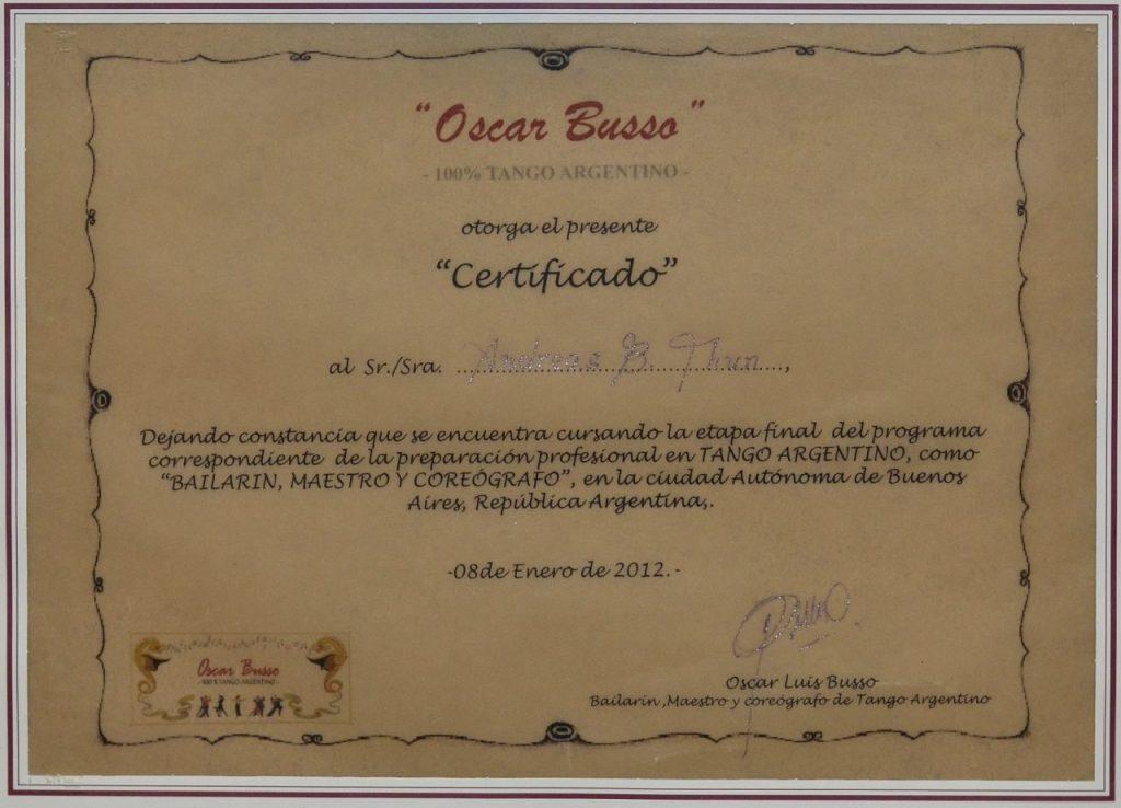 Andreas de Tangonautics, Dein privater Tangolehrer in München - Zertifikat #3