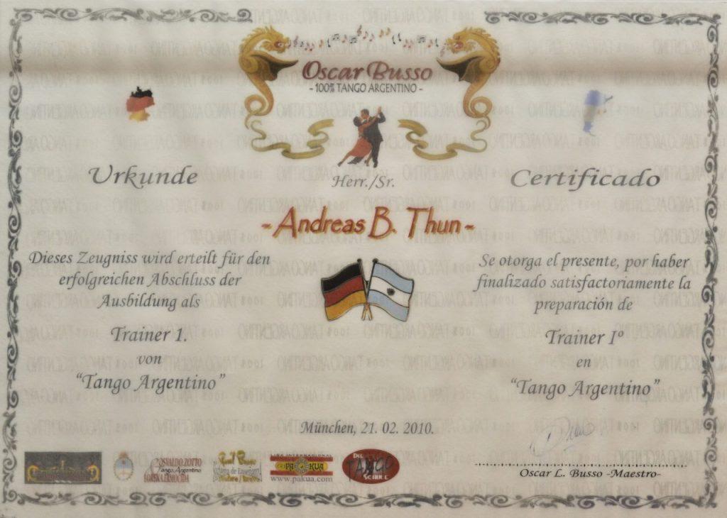 Andreas de Tangonautics, Dein privater Tangolehrer in München - Zertifikat #2